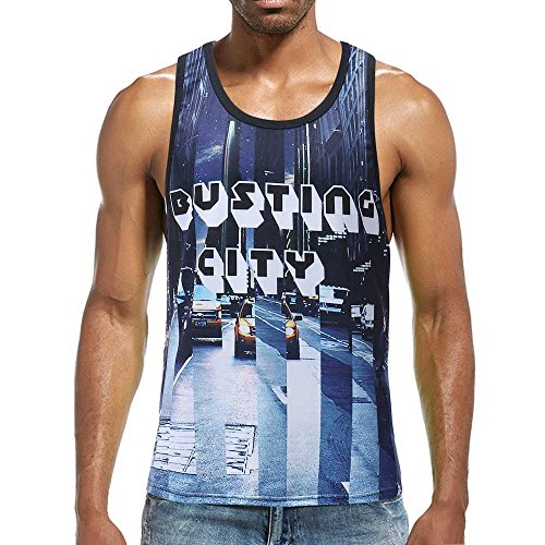 Microfiber Sleeveless - Men's Tank Top Shirt Sleeveless Independence Day Printing Sports for Gym Fitness Bodybuilding Running Jogging (L, Multicolor)