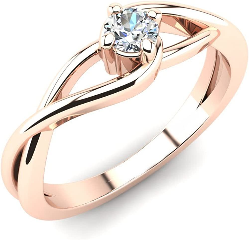 HN Jewels 0.14Ct Round Sim Diamond Infinity Solitaire Engagement Ring 14K Gold Plated 925 Sterling Silver