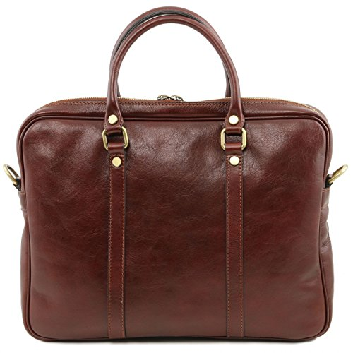 Tuscany Leather Exclusive Dark leather Prato case Brown Brown laptop prxwzpCq