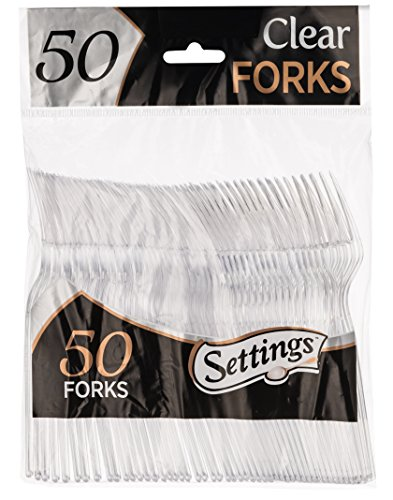 Party Forks - Settings Clear Plastic Cutlery Disposable Forks 50 Party Forks Per Package