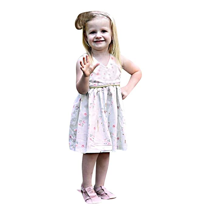 Bestow Vestido sin Mangas de Encaje Plisado sin Mangas de Encaje para niñas Vestido de Princesa