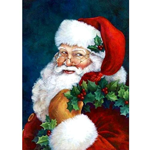 MXJ DIY 5D Diamond Painting by Number Kits Full Round Drill Rhinestone Embroidery Cross Stitch Picture Art Craft for Home Wall Decor Santa Claus 12x16In