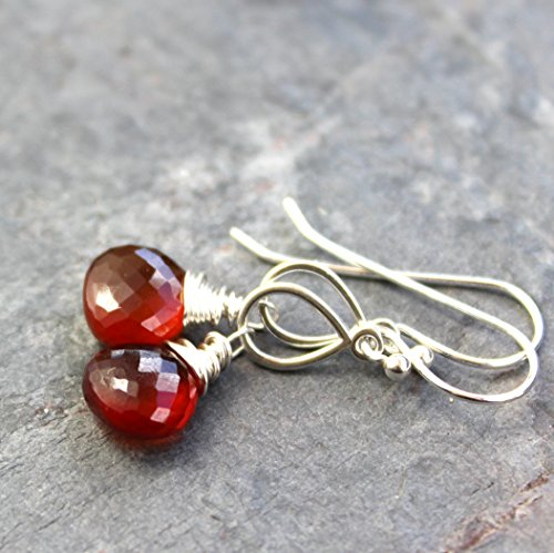 Spessartite Garnet Earrings (Spessartite Garnet Earrings Sterling Silver Rust Red Orange Faceted Gemstone)