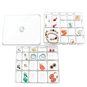 InterDesign Linus Fashion Jewelry Vanity and Drawer Organizer, Tray for Rings, Earrings, Bracelets, Necklaces - 3 piece set, 40 compartments, Clear