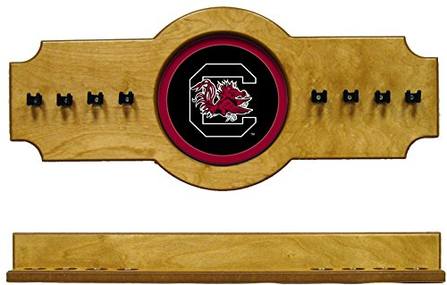 (NCAA South Carolina Gamecocks USCCRR100-O 2 pc Hanging Wall Pool Cue Stick Holder Rack - Oak)