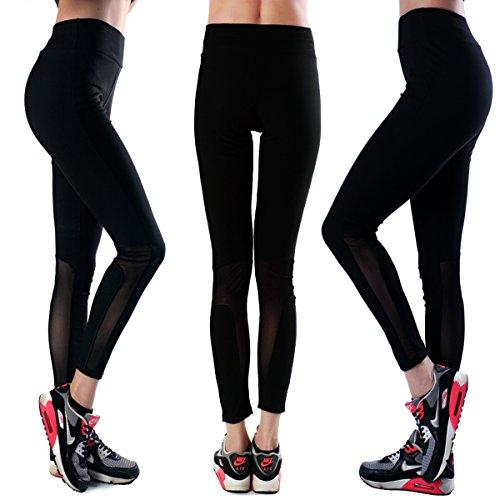 Retro Design Women's Black Mesh Yoga Pants Ankle Leggings with Elastic Waistband (XXL, Black-3pack)