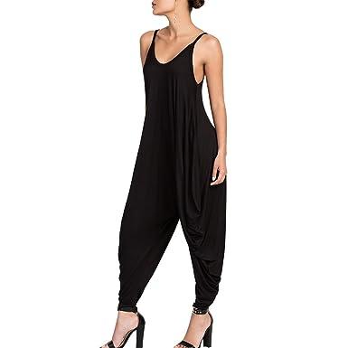 a9e3fe3cfc0 Dreamskull Women s Spaghetti Strap Harem Jumpsuit V Neck Comfy Loose Romper  Black