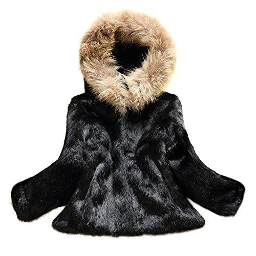 MINGCHUAN Hooded Coat Real Rabbit Fur Outwear Fluffy Long Sleeve Jacket With Raccoon Fur Collar - 3/4 Jacket Fox Fur