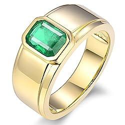 Yellow Gold Green Emerald Diamond Ring