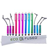 Universal Stylus Pen Bundle including 6 Long Stylus Pens and 6 Short Stylus Pens also Compatible with All Capacitive Touchscreen Devices inlcuding Android Tablets, iPod Touch, iPhone, Samsung Galaxy Tablet and more / plus 1 ECO-FUSED Microfiber Cleaning C