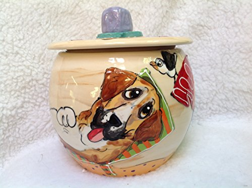 Bloodhound Treat Jar. Personalized at no Charge. Signed by Artist, Debby Carman. by Faux Paw Productions, Inc., Laguna Beach, CA