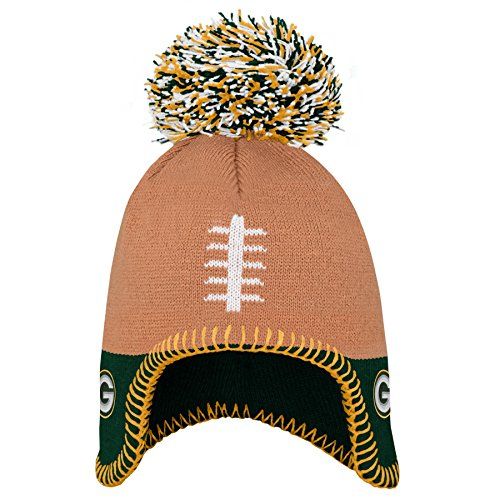 NFL Green Bay Packers Infant Football Head Knit Hat Hunter Green, Infant One Size
