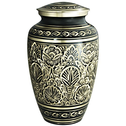 Funeral Urn by Meilinxu - Cremation Urns for Human Ashes Adults and Memorial Urn - Design is Hand Engraved in Brass - Burial Urns At Home or in Niche at Columbarium (Majestic Radiance, Large (Custom Carved Fireplace Mantel)