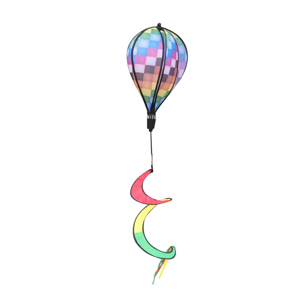 Fairy Garden//Lawn//Camping Hanging Decoration DYNWAVE 3pcs Rainbown 6-Panel Hot Air Balloon Wind Spinners Includes Flowing Curly Tail