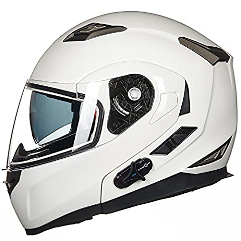 ILM Bluetooth Integrated Modular Flip up Full Face Motorcycle Helmet Sun Shield Mp3 Intercom (L, - White Full Face Helmet