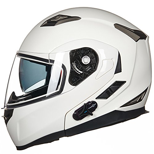 ILM Bluetooth Integrated Modular Flip up Full Face Motorcycle Helmet Sun Shield Mp3 Intercom (L, WHITE)
