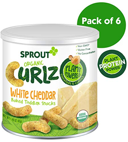 Sprout Organic Curlz Toddler Snacks, White Cheddar, 1.48 Ounce Canister (Pack of 6)