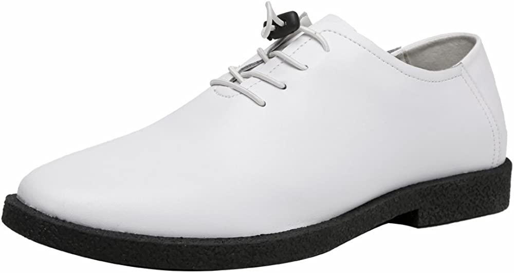 MUMUWU Mens Low Top Shoes Casual Matte Genuine Leather Loafers Lace Up BreathableShoes