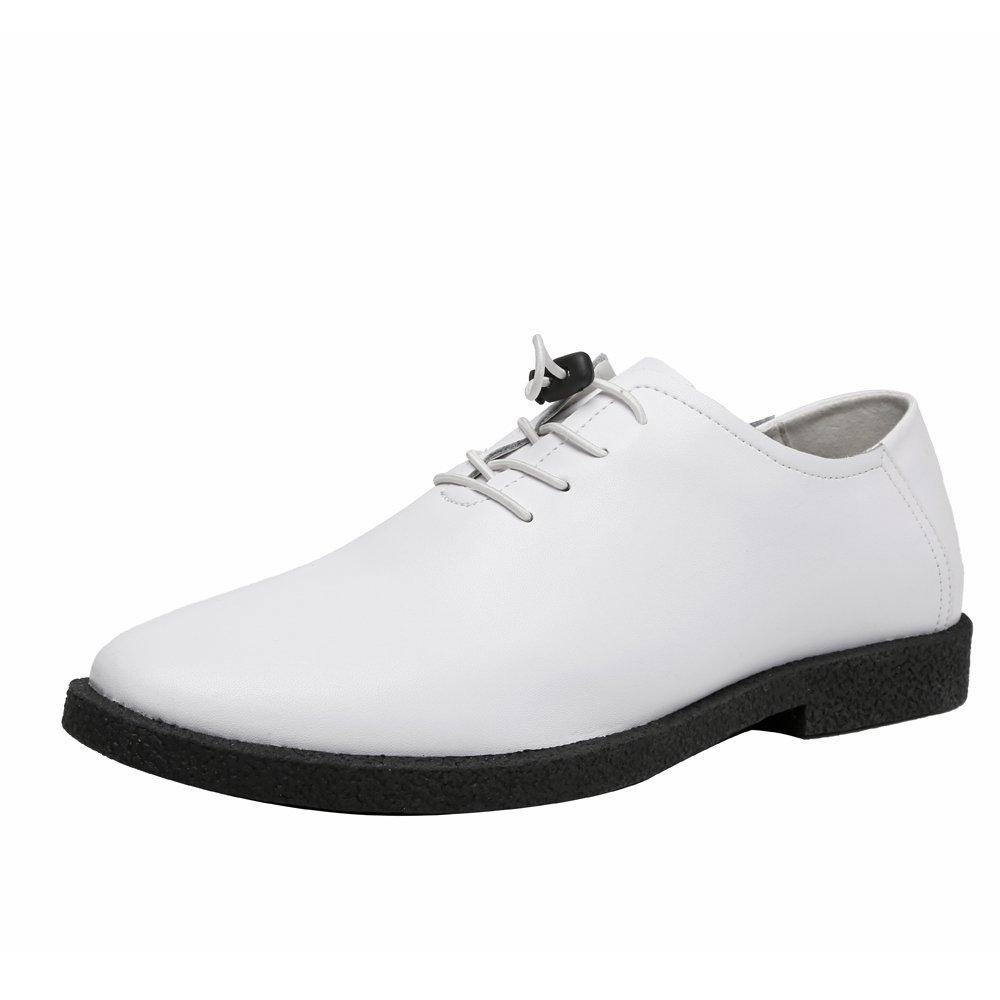 Ruiyue Leder Oxford Schuhe Herren , Lässige Matte Echtes Leder Müßiggänger Niedrige Spitzenschuhe Schnüren Atmungsaktiv Gefütterte Oxfords Für Männer (Farbe   Weiß, Größe   42 EU)