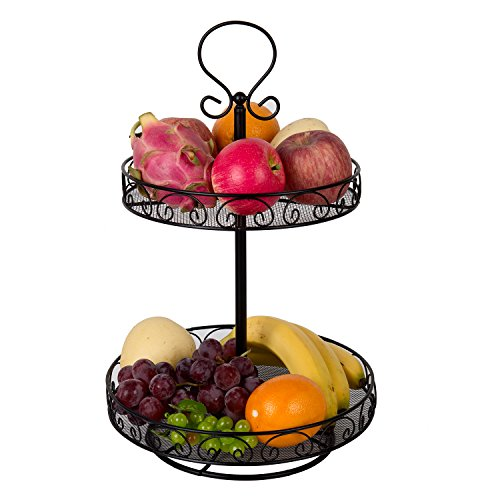 VANRA Rotatable Fruit Basket Countertop Fruit Stand Metal Wire Fruit Bowl Spice Rack Lazy Susan