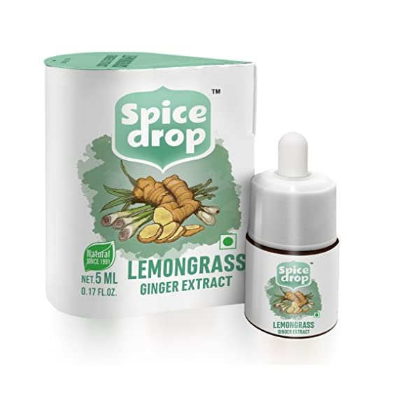 Spice Drop Lemongrass Ginger Natural Extract | for Tea, Soups, Shakes and Beverages | 5 ml (180 Drops)