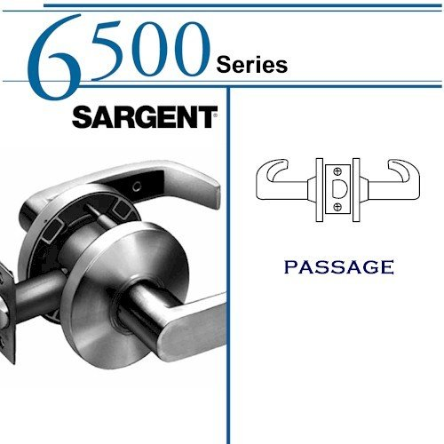 SARGENT 65U15-KL-26D PASSAGE CYLINDRICAL LOCK: 6500 SERIES, SATIN CHROME by Sargent