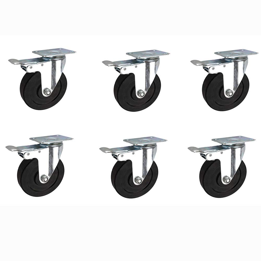 MUMA 4/6 Pieces 3-inch Black Rubber Conductive Universal Wheel 4-inch Silent Push Wheel 5-inch Anti-static Industrial Casters (Color : Brake, Size : 5 inches 6 pieces)