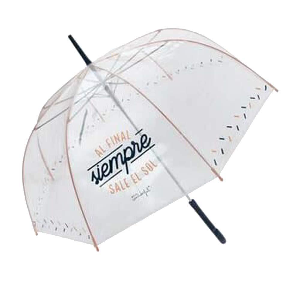 Paraguas transparente Mr. Wonderful en forma de campana y frase esampada.