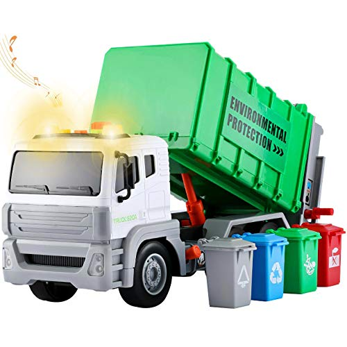 12.5 마찰 구동 쓰레기 트럭과 4 리어 로더 쓰레기 정렬 캔|빛과 소리를 버튼 도시 재생하는 폐기물 관리 아이들이 장난감 차량 트럭 위생