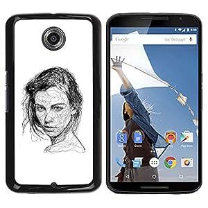 iBinBang / Funda Carcasa Cover Skin Case - Girl Black White Pen Sketch Art Drawing - Motorola NEXUS 6 / X / Moto X Pro