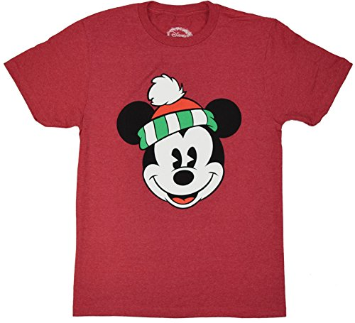 Disney Classic Christmas Holiday Mickey Mouse Smiling Face T-shirt (Large, Heather Red) (Soft Classic T-shirt Faces)