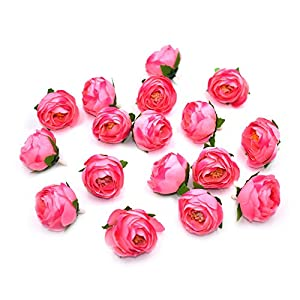 HZOnline Artificial Silk Tea Rose Flower Heads, Fake Floral Bouquet Bud Head for Bridal Garland Headwear Wedding Wreath Boutonniere DIY Flower Ornament (30pcs Pink) 8
