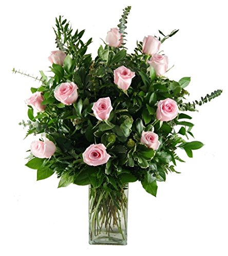 1 Dozen Pink Roses by Trias Flowers - Fresh and Hand Delivered - Miami Area (1 Dozen Pink Roses)