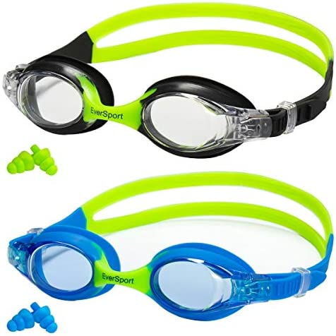 Kids Swim Goggles, Pack of two, Swimming Goggles for Kids, Toddler Girl Boy Swim Goggles, Swimming Glasses for Children,Teens, Anti Fog, Waterproof, Soft Silicone, Clear Vision, Wide View (Age 3-12)