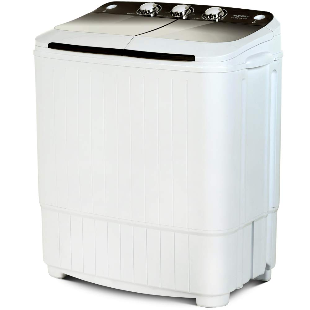 Portable Washing Machine, KUPPET 17lbs Compact Twin Tub Wash&Spin Combo for Apartment, Dorms, RVs, Camping and More, White&Brown by KUPPET