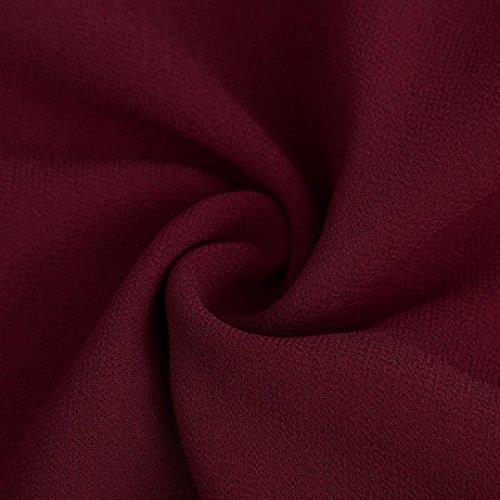 de en mode la longues Femmes dcontract lche Blouse soie Tefamore Rouge Chemisier manches mousseline de haut de page qHg6yCcg