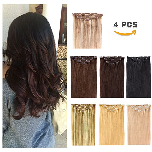 "14"" Clip in Hair Extensions Remy Human Hair for Women - Silky Straight Human Hair Clip in Extensions 50grams 4pieces Dark Brown #2 Color"