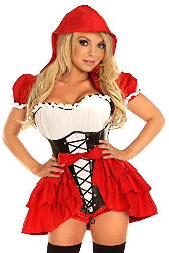 Daisy Corset Costumes (Daisy Corsets Women's Top Drawer Plus Size 3 Piece Red Riding Hood Costume, Red, 5X)
