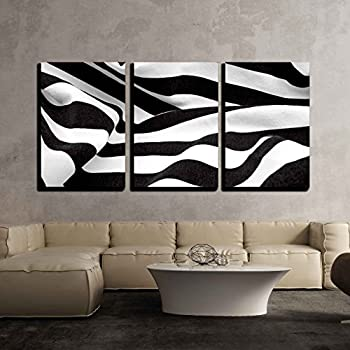 wall26 3 piece canvas wall art black and white fabric creates a swirl or zebra effect modern home decor stretched and framed ready to hang 24x36x3