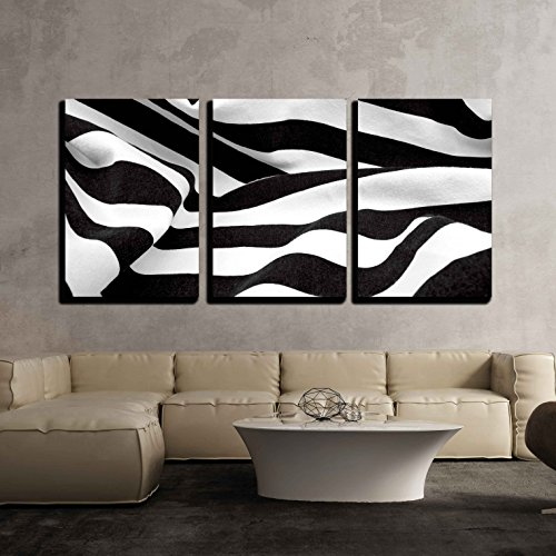 wall26 - 3 Piece Canvas Wall Art - Black and White Fabric Creates a Swirl or Zebra Effect - Modern Home Decor Stretched and Framed Ready to Hang - 24