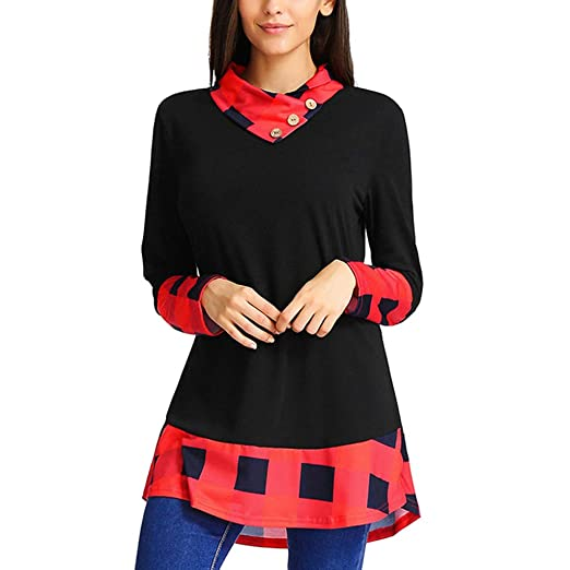 b4ce06b61c5 HULKAY Womens Plaid Long Sleeve Tunic Tops Blouse Pullover Jersey High Neck Plus  Size Boho(