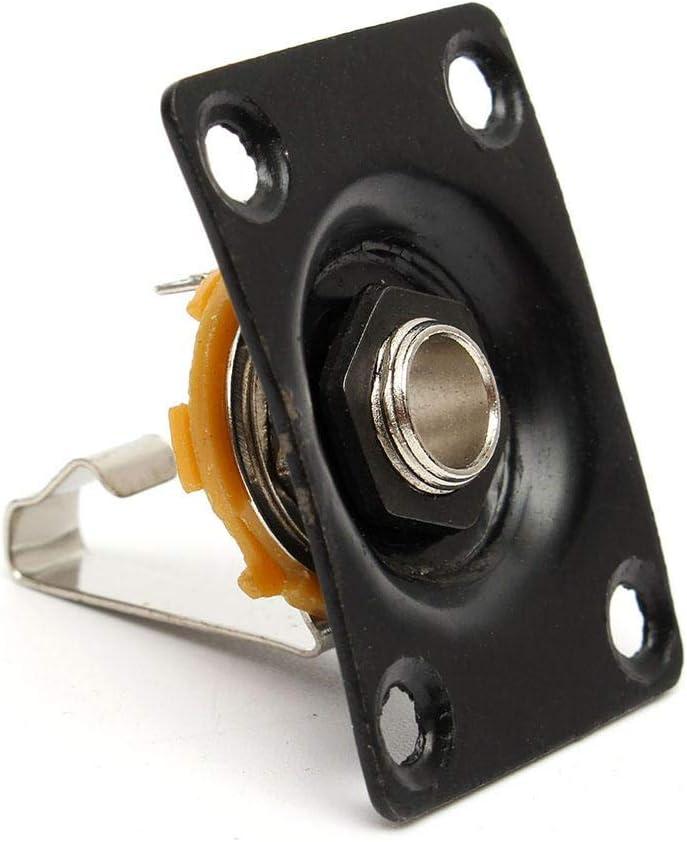 Fuerte y resistente Guitarra eléctrica de accesorios Cuadrado Jack Plate guitarra baja toma de entrada de 1/4 de salida del zócalo de gato (Color : Negro)