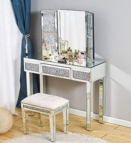 Panana - Conjuntos de Mesa Tocador Cristal 3 Cajones + Espejo Triple Vidrio + Taburete Acolchado para Maquillajes Cosméticos Dormitorio Salón Belleza Moderna Lujosa Moda (Modelo Diamantes Artificial)
