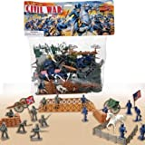 : 72 Piece Civil War Plastic Army Men Play Set ~ 52mm Union and Confederate Figures, Bridge, Horses, Canon, More!