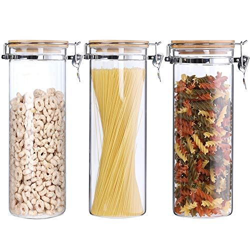 Clear Borosilicate Glass Storage Jars Canisters With Airtight Locking Clamp Bamboo Lids,Air Tight Food Storage Containers For Kitchen ,Spaghetti Pasta Cereal Noodle Rice Jar ,68 Floz 3-Piece Set