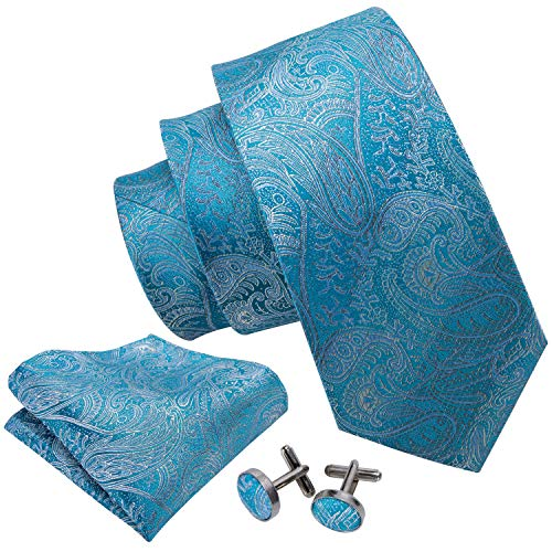 Barry.Wang Men Ties Woven Tie Set with Pocket Suqare Cufflinks Paisley Necktie -