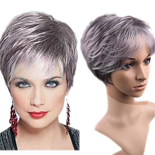 Lady Miranda Gray-White Color Short Layer Nature Curly with Bangs Synthetic Wig Heat Resistant Weave Full Wigs for Women (black&gray)]()
