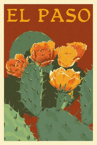 El Paso - Prickly Pear Cactus - Letterpress (12x18 Art Print, Wall Decor Travel Poster)
