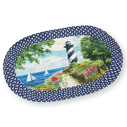 Collections Etc Seaside Nautical Black and White Lighthouse Braided Accent Rug, 30 x19 1/2, Blue