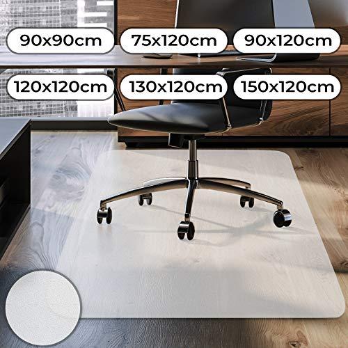 Jago Protector de Suelo 90x120cm - Varios tamanos, Espesor 1.8mm, Blanco - Estera de la Silla, Alfombrilla para Oficina